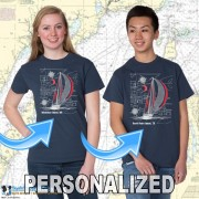 9190C SAILBOAT BLUEPRINT COLOR T-SHIRTS