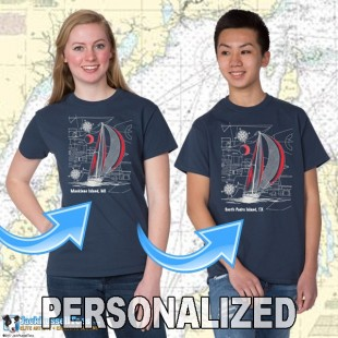 9190CPND Sailboat Blueprint T-shirt Personalized