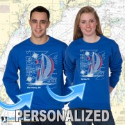 9190CPND SAILBOAT BLUEPRINT CREWNECK SWEAT WITH PERSONALIZATION