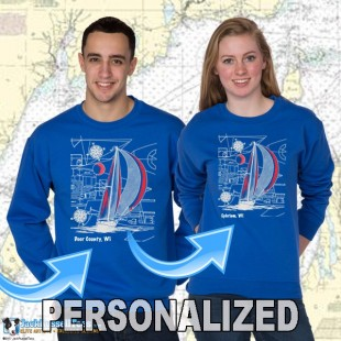 9190CPND Sailboat Blueprint Crew Neck Sweat Personalized