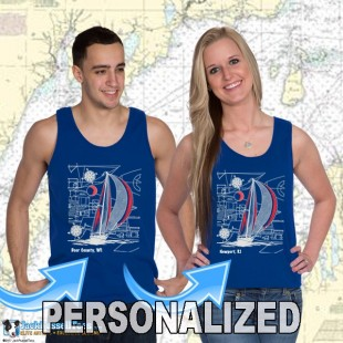 9190CPND Sailboat Blueprint Tank Top Personalized