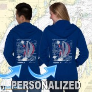 9190C SAILBOAT BLUEPRINT ZIP HOODIES