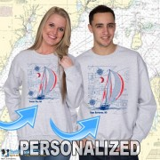 9190PND Sailboat Blueprint Crewneck Sweat Personalized