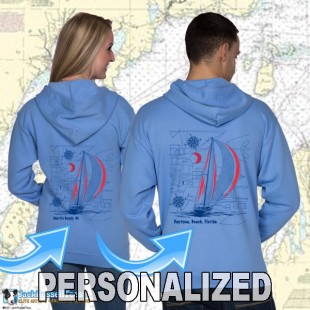9190CPND Sailboat Blueprint Zip Hoodie Personalized