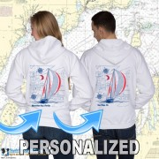 9190CPND SAILBOAT BLUEPRINT ZIP HOODIE