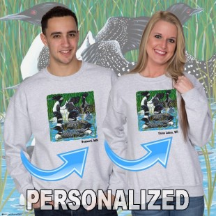 15003PND Loon Party at the Lake Crewneck Sweat Personalized