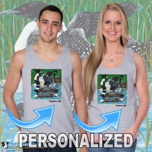 15003PND Loon party at the Lake Tank Top Personalized