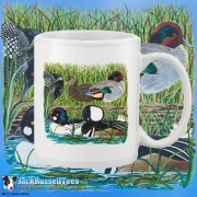 15004WFB Ducks On A Log White 15oz Coffee Mug