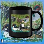 15004BFB Ducks On A Log Black 15oz Coffee Mug