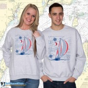 9190 Sailboat Blueprint Crewneck Sweat
