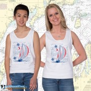 9190 Sailboat Blueprint Tank Top