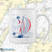 9190WFB Sailboat Blueprint White 15oz Coffee Mug