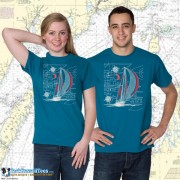 9190C Sailboat Blueprint Color T-shirt