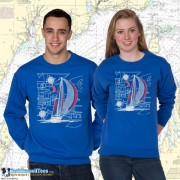 9190C Sailboat Blueprint Crewneck Sweat