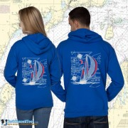 9190C SAILBOAT BLUEPRINT ZIP HOODIE