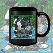 15003BFB Loon Party at the Lake Black 15oz Coffee Mug