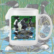 15003WFB Loon Party at the Lake White 15oz Coffee Mug