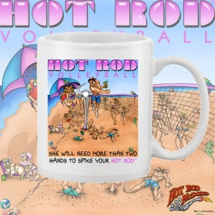 HR003WFB Hot Rod Volleyball White 15oz Coffee Mug